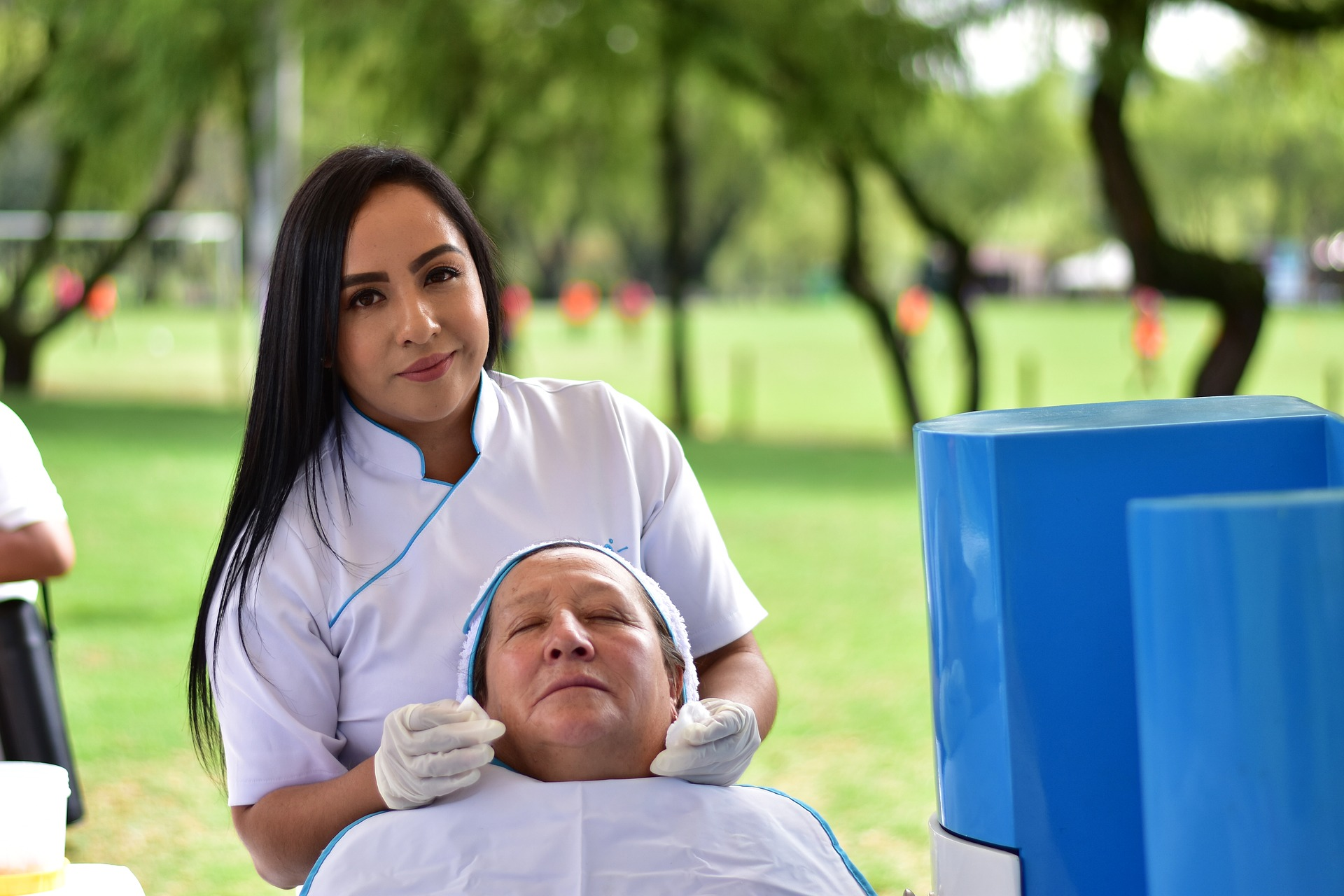 Woman doing facial cleaning on another woman